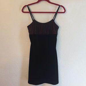 Alton Paige black velvet red sparkle mini dress